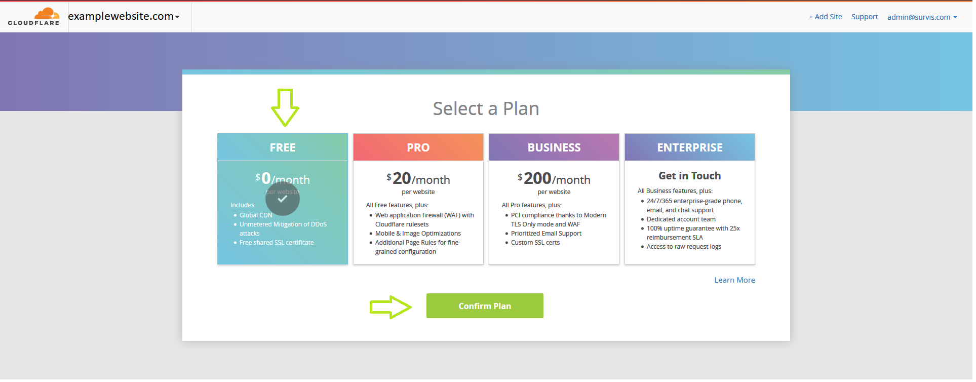 Cloudflare Registration - Select Plan
