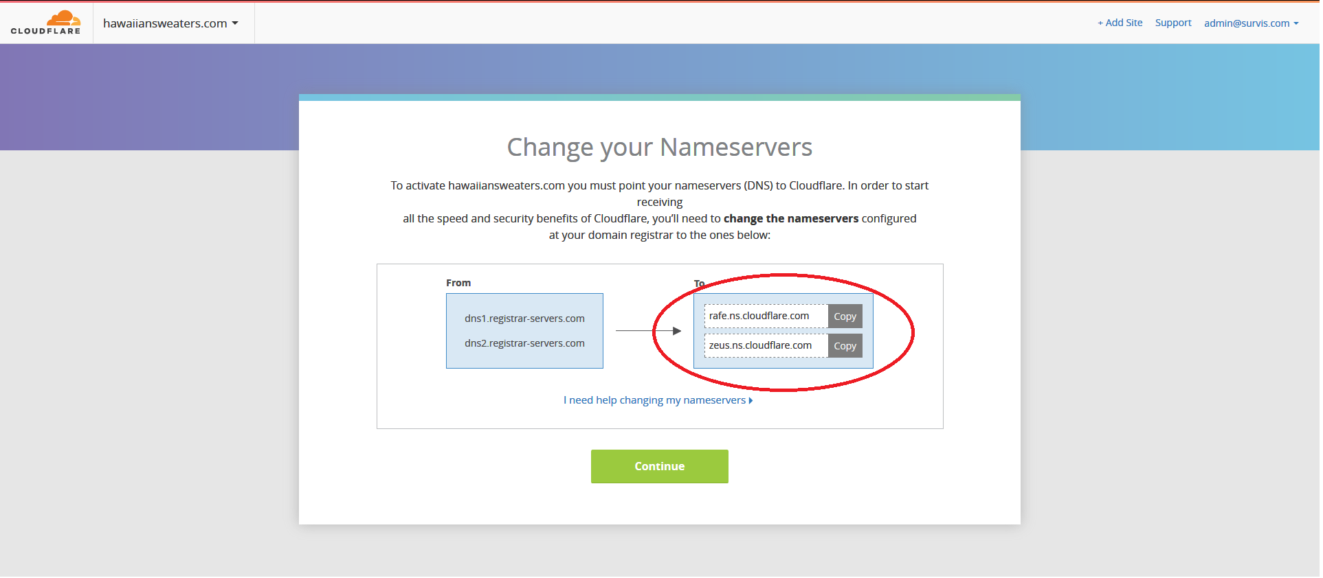 Cloudflare Registration - Nameservers