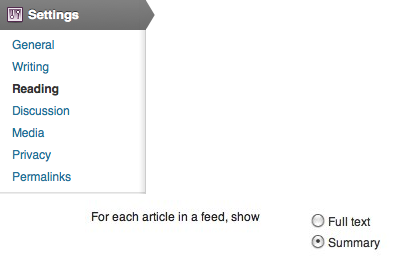Show Wordpress Summary Instead of Full Text